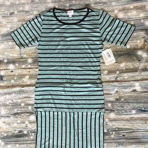 Lularoe Julia Dress Teal Black Striped Size Medium